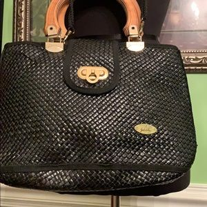 Gabriella weaved black handbag